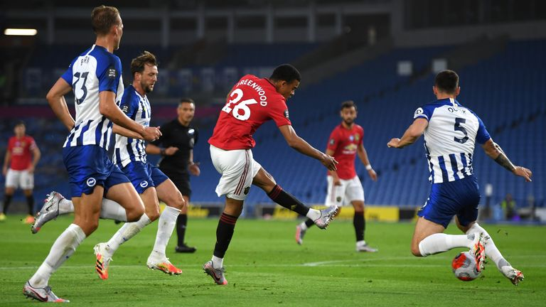 Greenwood cut inside to score his sixth Premier League goal of the season