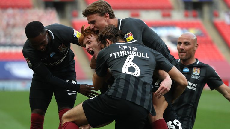 Northampton celebrate their victory at Wembley