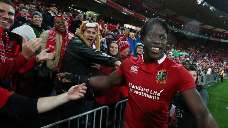 Maro Itoje pictured with fans during the 2017 tour of New Zealand