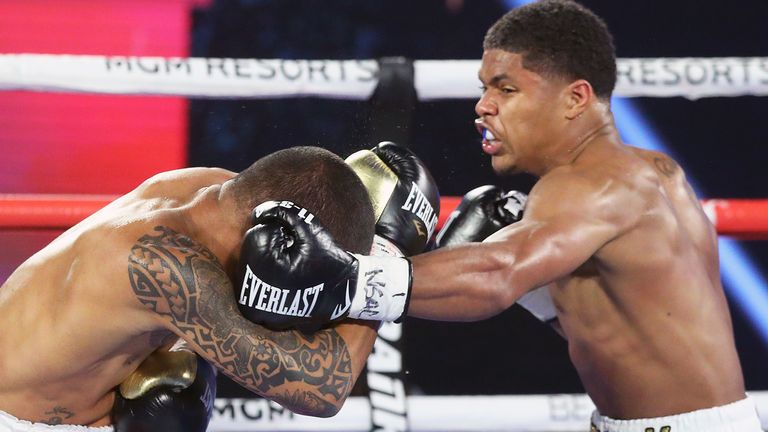 Shakur Stevenson stopped Felix Caraballo in the sixth round