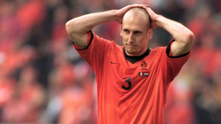 Jaap Stam after missing his penalty against Italy in the shootout at Euro 2000