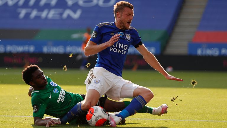 Tariq Lamptey kept Jamie Vardy quiet in Brighton's draw at Leicester
