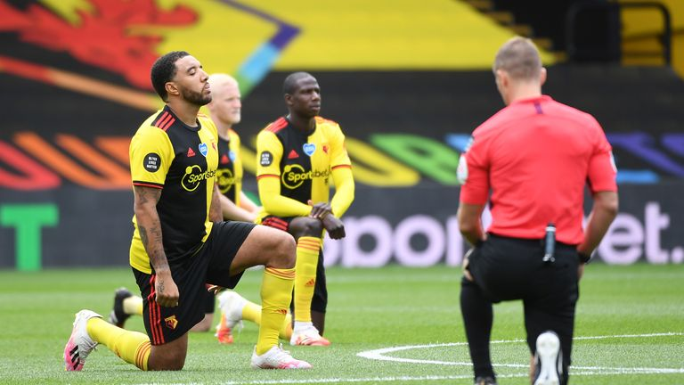 Watford captain Troy Deeney (L) is one of several players who helped organised support for Black Lives Matter alongside the Premier League