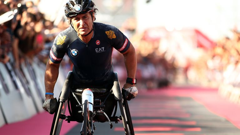 Alex Zanardi is a four-time Paralympic hand cycling gold medallist