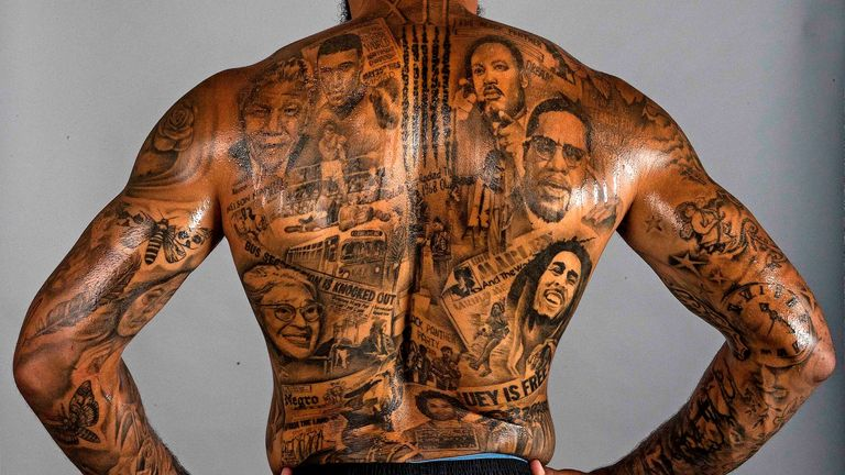 Gray has the likes of Nelson Mandela, Martin Luther King, Malcolm X, the Black Panthers and Rosa Parks featured in his tattoo (Credit: Mark Aspland | The Times)
