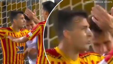 Lazio defender Patric was sent off for biting Lecce's Giulio Donati (Credit: Premier Sports)