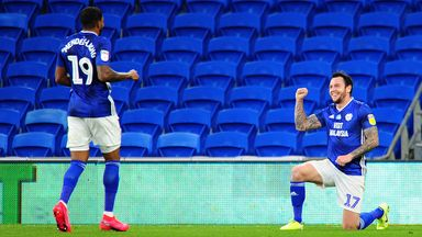 Lee Tomlin celebrates scoring the winner for Cardiff