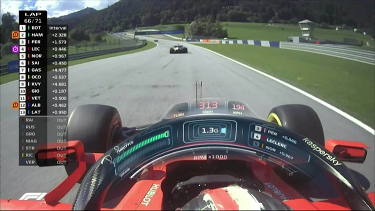 Watch as Charles Leclerc moves into third after overtaking Sergio Perez in Austria.
