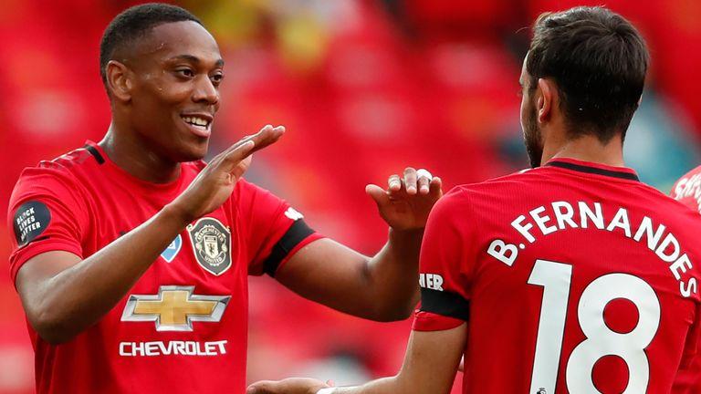 Anthony Martial celebrates with Bruno Fernandes