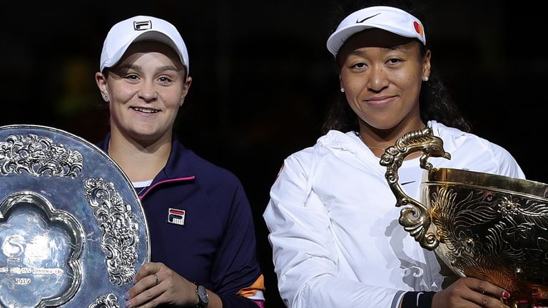 Ashleigh Barty (left) played Naomi Osaka (right) in the China Open final last year