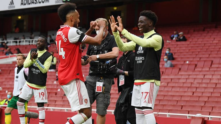 Arsenal fans will be hoping Aubameyang follows Bukayo Saka in committing his future to Arsenal