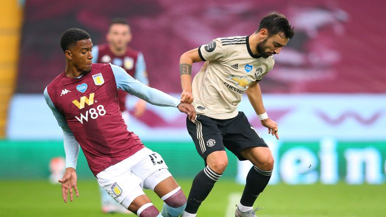 Bruno Fernandes was adjudged to have been fouled by Ezri Konsa at Villa Park