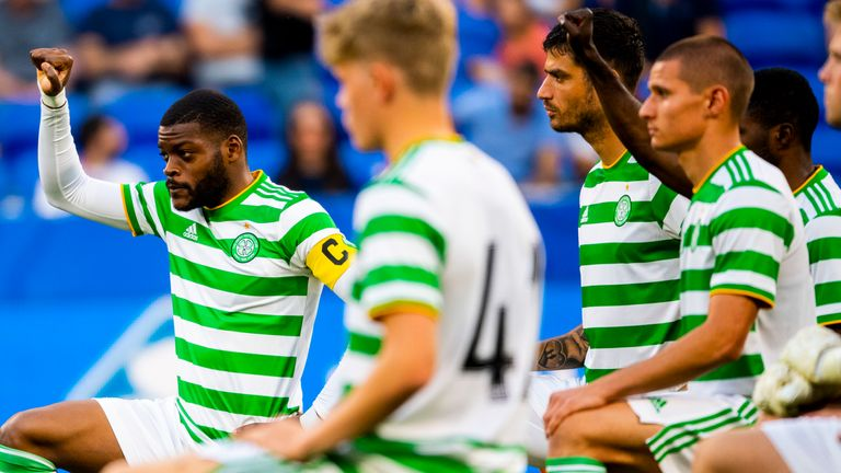 Celtic players take the knee ahead of a friendly against Lyon
