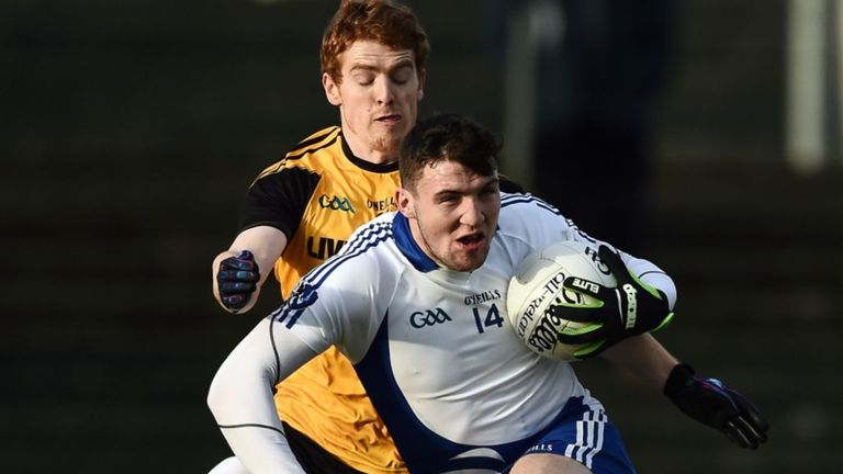 Damien Comer of Connacht in action against Ulster's Peter Harte during the 2016 GAA Interprovincial Football Championship final