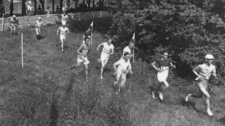 Competitors in action during the men's cross-country event at the 1924 Summer Olympics