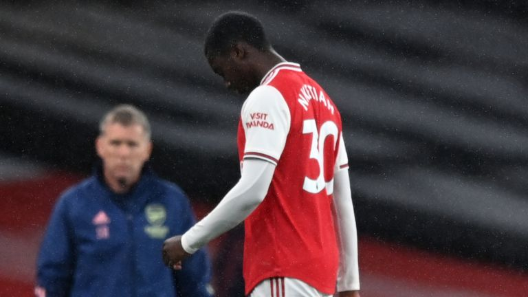 Arsenal's Eddie Nketiah will miss the derby after being sent off against Leicester