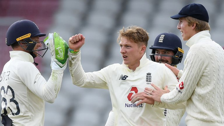 England spinner Dom Bess picked up two of the last three West Indies wickets at Old Trafford
