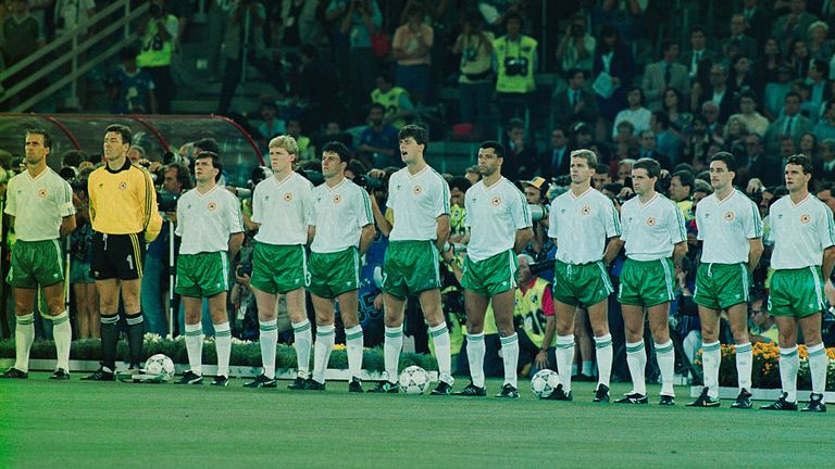 Mick McCarthy (far left) captains the Republic of Ireland in the 1990 World Cup in Italy
