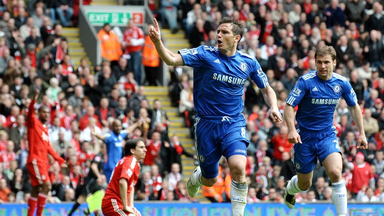 Lampard scores for Chelsea at Anfield in May 2010