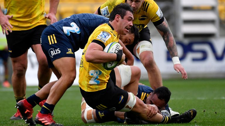 Devan Flanders crossed the try-line for the Hurricanes against the Highlanders