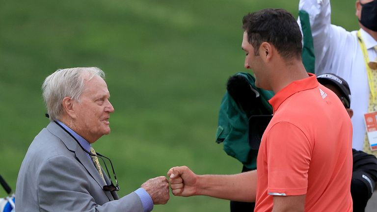 Tournament host Jack Nicklaus was there to congratulate Rahm on the 18th green