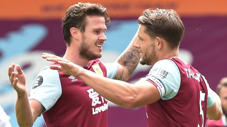 James Tarkowski celebrates after giving Burnley the lead against Sheffield United shortly after the first-half drinks break