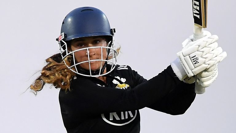 Surrey's Kira Chathli in full flow against Middlesex as women's cricket resumes after the coronavirus lockdown