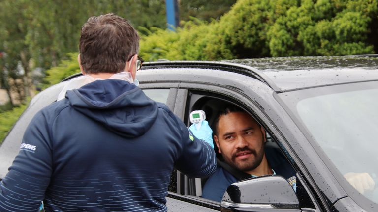 Leeds Rhinos' Konrad Hurrell has his temperature checked as he arrives for training.