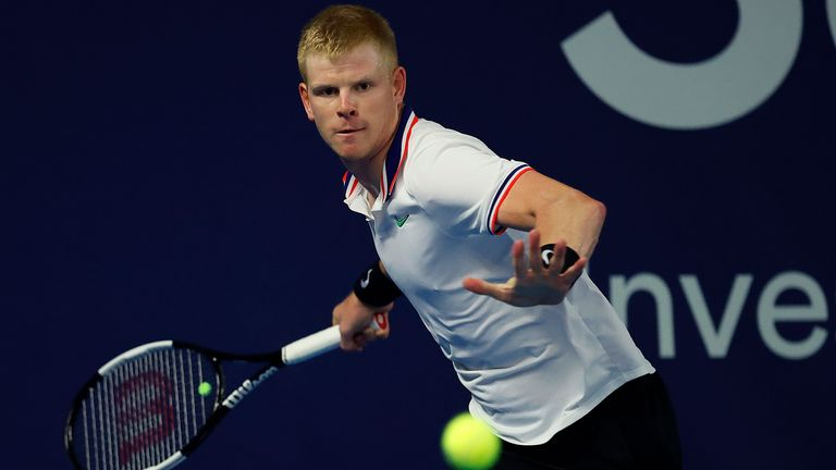 Edmund in action at Schroders Battle of the Brits at the National Tennis Centre