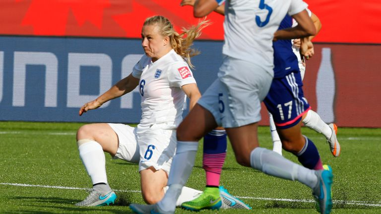 Laura Bassett puts the ball into her own net late in the semi-final
