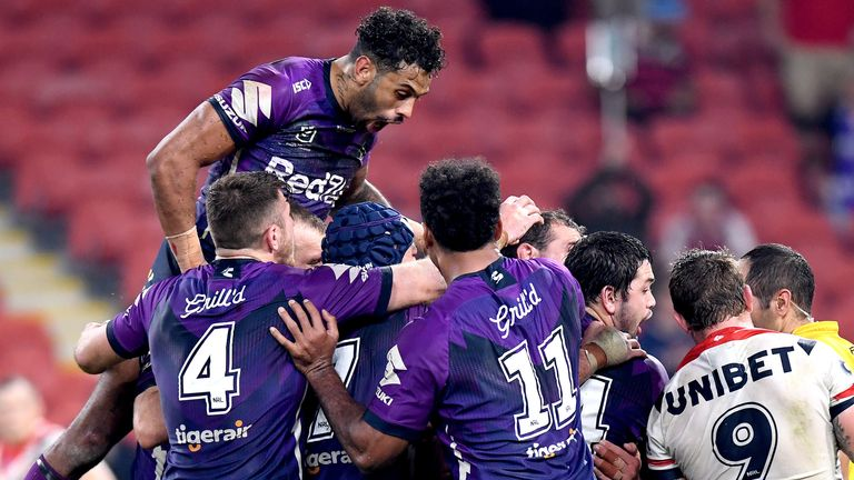 Melbourne Storm celebrate victory