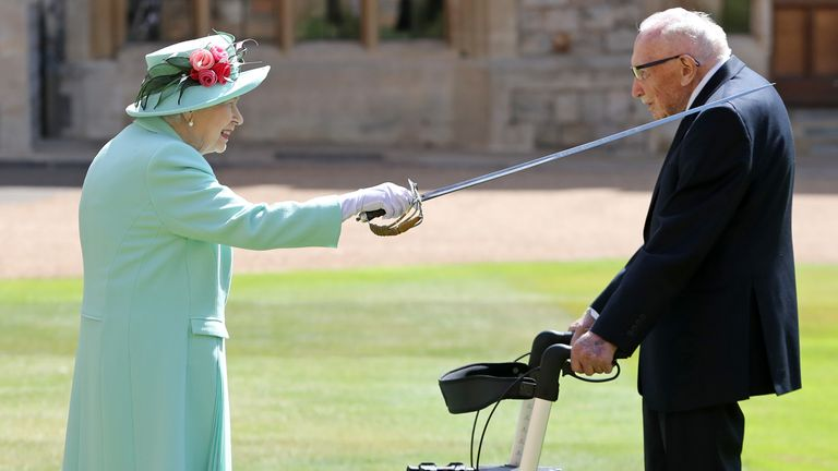 Captain Sir Thomas Moore is knighted by the Queen