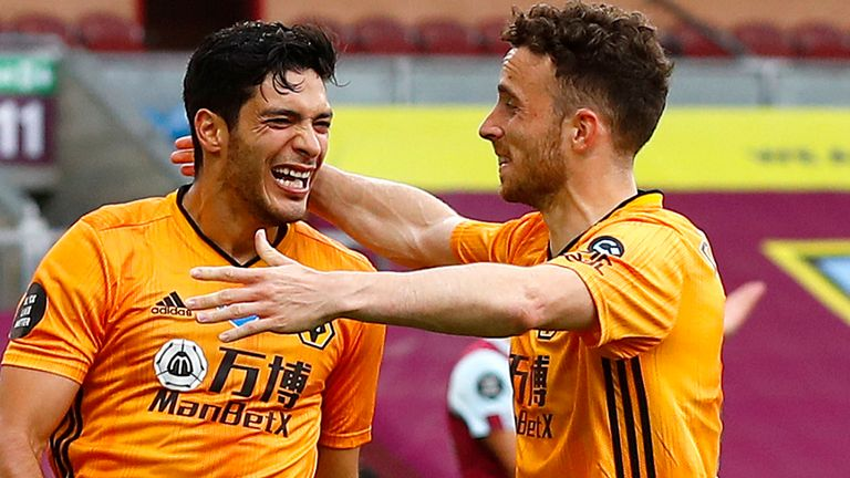 Raul Jimenez celebrates with Wolves team-mate Diogo Jota