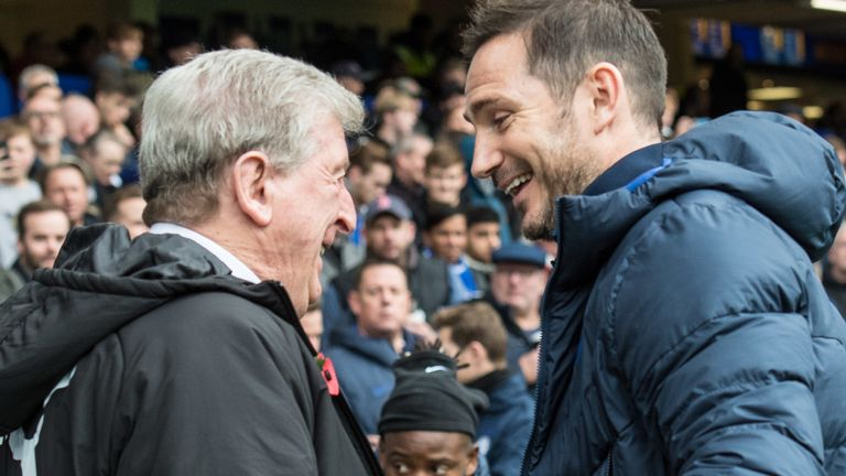 Roy Hodgson and Frank Lampard face each other as opposing managers on Tuesday