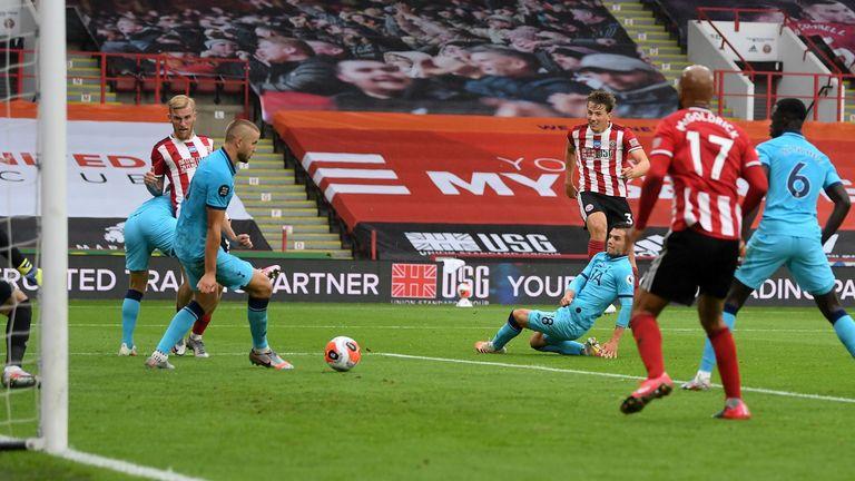 Sander Berge scores his first Premier League goal against Tottenham