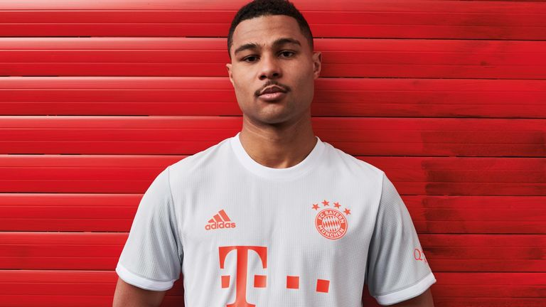Serge Gnabry models Bayern's 2020/21 away kit