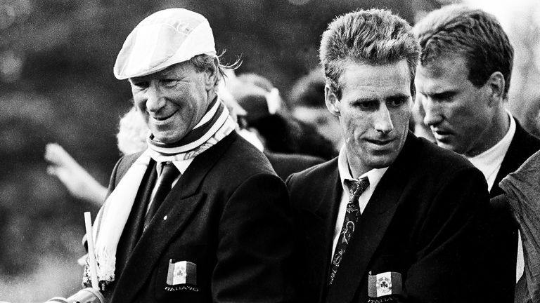Sir Jack Charlton and Mick McCarthy on an open top bus on their arrival home after the 1990 World Cup