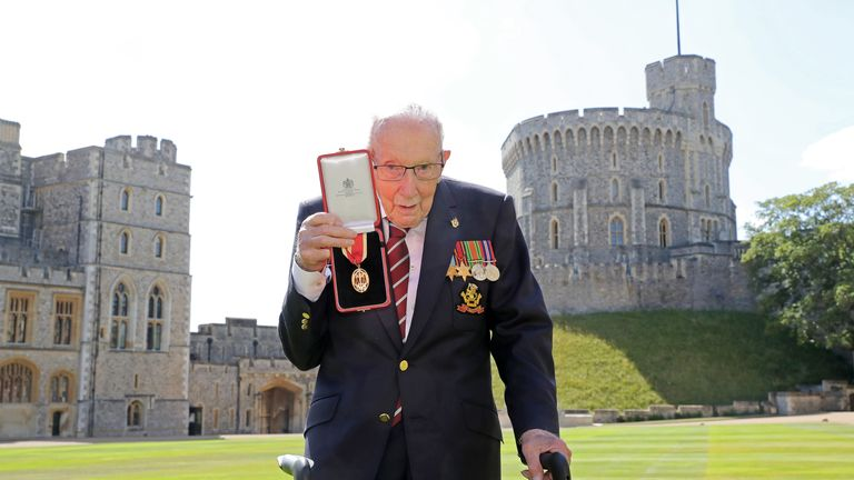 Captain Sir Thomas Moore after accepting his honour at Windsor Castle