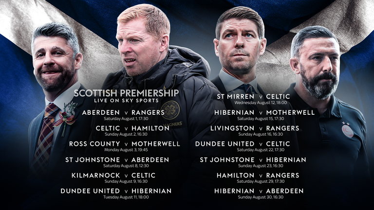 Scottish Premiership games live on Sky Sports in August