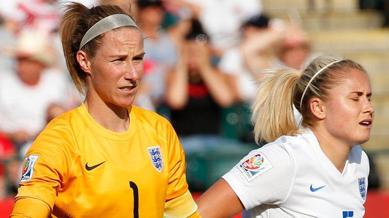 Steph Houghton and Karen Bardsley react after Japan's winner