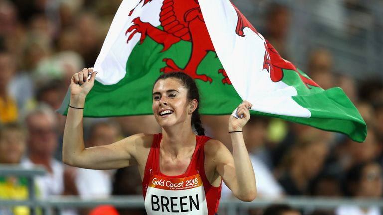 Breen celebrates winning bronze for Wales in the Women's T38 100m final on day eight of the Gold Coast 2018 Commonwealth Games