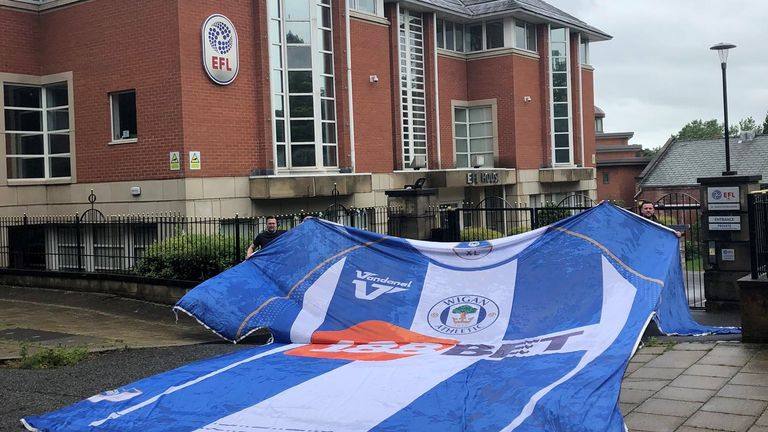 Wigan fans protested outside the EFL offices in Preston