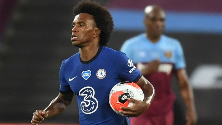 Willian netted twice in the 3-2 defeat at West Ham