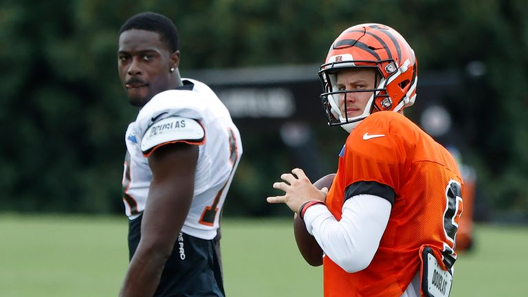 A.J. Green and Joe Burrow in Bengals training camp