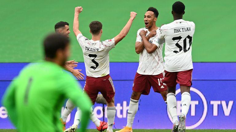Pierre-Emerick Aubameyang celebrates his opening goal for Arsenal