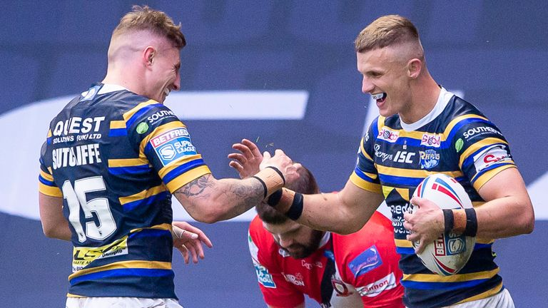 Leeds' Ash Handley is congratulated by Liam Sutcliffe after scoring