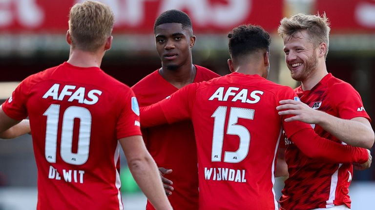 AZ Alkmaar celebrate their victory in the Champions League third qualifying round