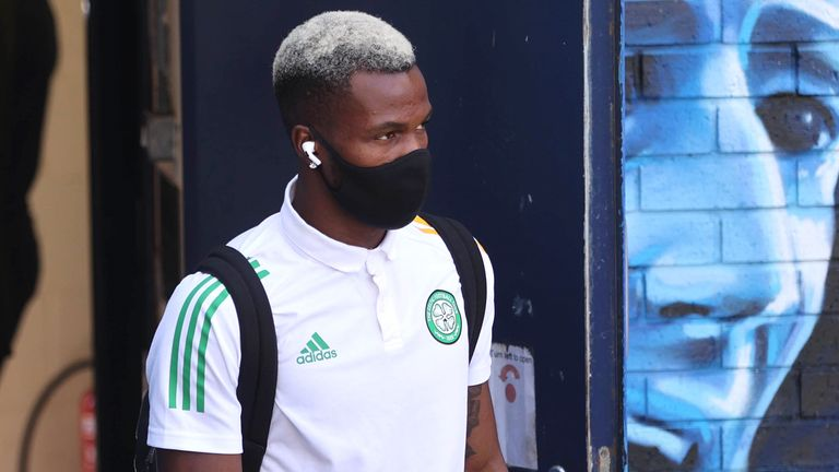 Celtic's Boli Bolingoli arrives for the Scottish Premiership match against Kilmarnock
