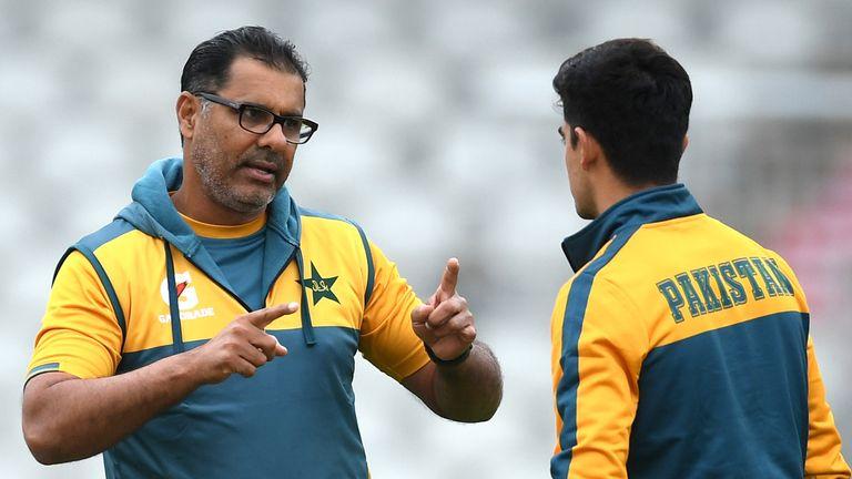 Pakistan bowling coach Waqar Younis (L) with young paceman Naseem Shah