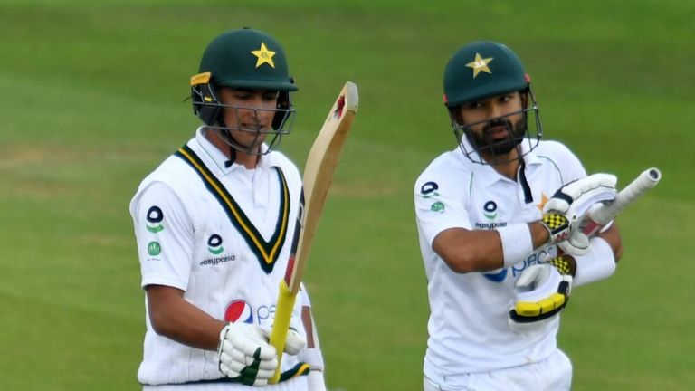 Mohammad Rizwan (R) and Naseem Shah were the not out Pakistan batsmen when bad light ended play on day two